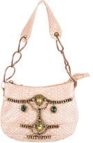 Herve Leger Crystal Embellished Python Handle Bag