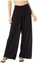 Lauren Ralph Lauren Crinkle Rayon Cover-Up Smocked Waist Pant (Black) Women's Swimwear