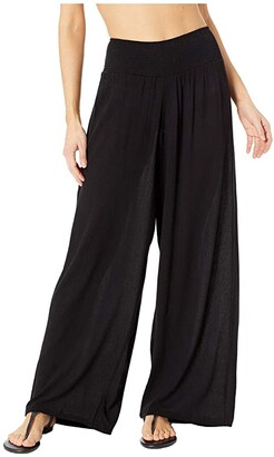 Lauren Ralph Lauren Crinkle Rayon Cover-Up Smocked Waist Pant (Black) Women's Swimwear
