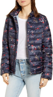 Bernardo Floral Print Packable Hooded EcoPlume Fill Puffer Coat