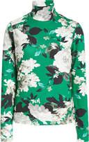 Erdem Kelly Floral-Print Cotton-Blend Turtleneck Top