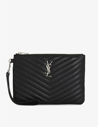 Saint Laurent Quilted monogram leather pouch