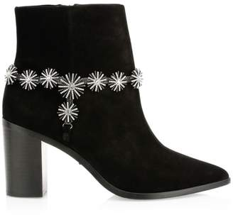 Schutz Teia Embellished Suede Stacked Heel Booties