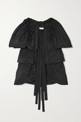 Dries Van Noten Tie-front Tiered Gathered Taffeta Blouse - Black