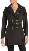 Michael Kors Petite Hooded Double-Breasted Trench Coat