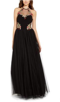 Blondie Nites Juniors' Floral-Applique Gown