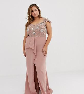 Virgos Lounge Plus embellished bardot maxi dress with ruffle detail in pink