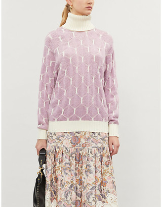 See by Chloe Geometric-pattern knitted jumper