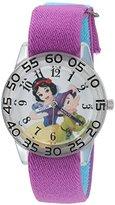 Disney Girl's 'Snow White' Quartz Plastic and Nylon Automatic Watch, Color:Purple (Model: W002924)