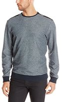 Calvin Klein Men's Crew Neck Sweatshirt with Faux Leather Overlay