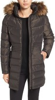 Calvin Klein Women's Iridescent Puffer Coat With Faux Fur Trim