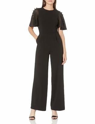 Calvin Klein Women's Button Chiffon Flutter Sleeve Jumpsuit