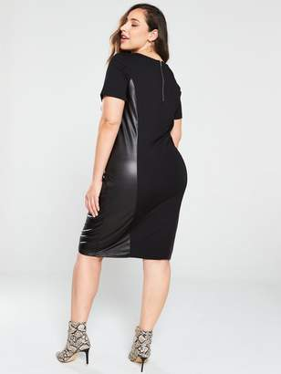 Junarose Curve Monica PU Side Bodycon Dress - Black