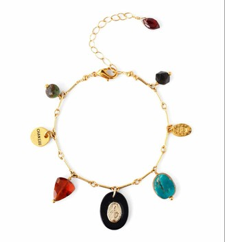 Chan Luu Mutli Color Mineral Stone Mix Goldtone Charm Bracelet