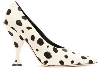 Burberry Dalmatian-print Calf-hair Pumps - Black White