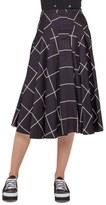 Akris Punto Windowpane Print Midi Skirt