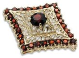 Tatitoto Gioie Women's Brooch in 18k Gold with Garnet, 8.9 Grams