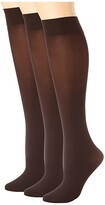 Hue Soft Opaque Knee High 3-Pack (Espresso) Women's Knee High Socks Shoes