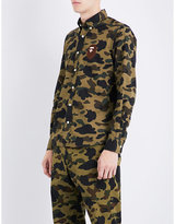 A Bathing Ape Green Embroidered Camouflage-print Slim-fit Cotton Shirt