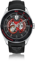 Ferrari Gran Premio Silver Tone Stainless Steel Case and Black Silicone Strap Men's Watch