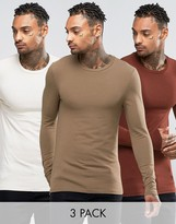 Asos 3 Pack Extreme Muscle Long Sleeve T-Shirt With Crew Neck SAVE