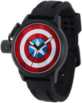 Marvel Captain America Mens Black Silicone Strap Crown Protector Watch
