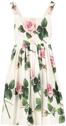Dolce & Gabbana Gathered Cotton Poplin Dress