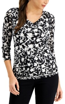 JM Collection Printed Mesh 3/4-Sleeve Top, Created for Macy's