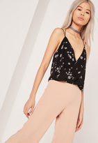 Missguided Contrast Wrap Cami Top Print
