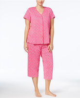 Charter Club Plus Size Loop-Trimmed Top and Cropped Pants Pajama Set, Created for Macy's