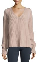 Helmut Lang Ribbed V-Neck Pullover Sweater, Dust