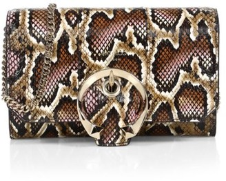 Jimmy Choo Mini Madeline Snakeskin-Embossed Leather Wallet-On-Chain