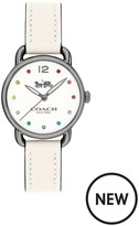 Coach Delancy Rainbow Stone Markers Grey Plate Case With Chalk Leather Strap Ladies Watch