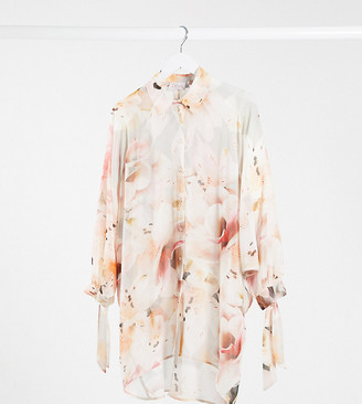 Blume Maternity chiffon shirt in pink floral