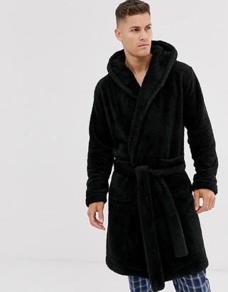 Asos Design DESIGN lounge fleece robe in black