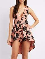 Charlotte Russe Floral Plunging V-Neck Layered Maxi Romper