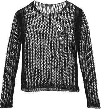 Versace Appliqued Open-knit Sweater