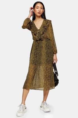 Topshop Womens Leopard Print Ruffle Midi Dress - Mustard