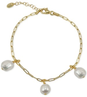 Argentovivo Freshwater Pearl (5-5-1/2mm) Dangle Charm Bracelet in 18k Gold-Plated Sterling Silver