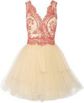 Marchesa Corded lace and tulle mini dress