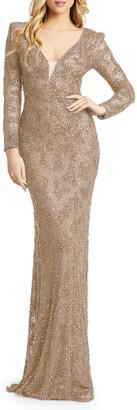 Mac Duggal Long-Sleeve Beaded Sheath Gown