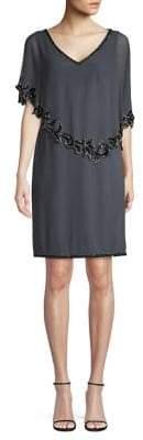 J Kara Slit-Sleeve Beaded Overlay Sheath Dress