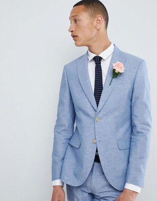 Moss Bros Skinny Linen Wedding Suit Jacket In Blue