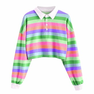 Wao Womens Colorful Blouse Crop Top Ladies Girls Striped Color Block Buttons Up Shirts Long Sleeve Pullover Sweatshirt Tops Blouse Red