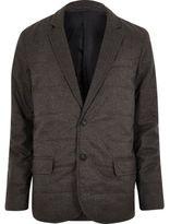 River Island MensDark grey padded quilted slim blazer