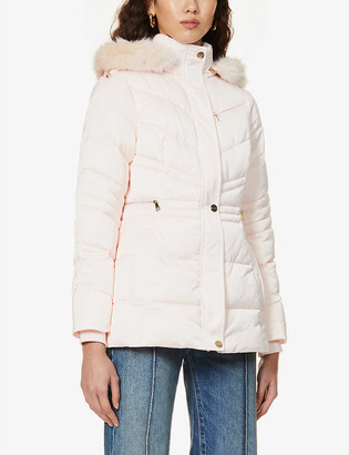 Ted Baker Maliiva faux fur-trimmed padded shell coat