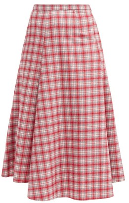 Vika Gazinskaya High-waist Checked Wool Midi Skirt - Red Multi