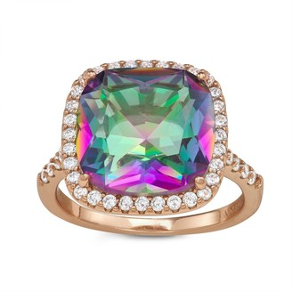 Sterling Silver Rose Gold Plated Bold Sim Rainbow Ring By Gioelli