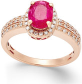Macy's Ruby (1-1/3 ct. t.w.) and Diamond (1/4 ct. t.w.) Ring in 14k Rose Gold