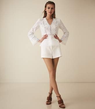 Reiss Acelina - Broderie Anglaise Top in White